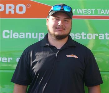 SERVPRO Production Technician Jamie is shown, male, beard and hat on