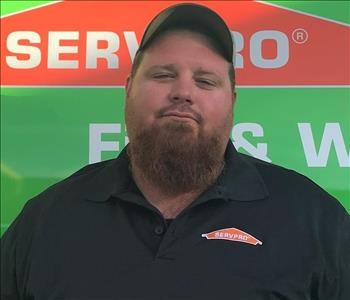 SERVPRO Crew Chief Ricky is shown, male employee, beard and hat on